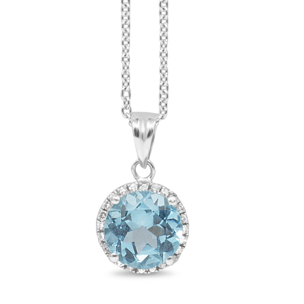 9ct White Gold Topaz and Diamond Halo Pendant