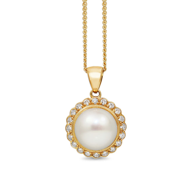 9ct Yellow Gold Daisy Style Pearl and Diamond Necklace