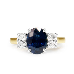 18ct Yellow and White Gold Sapphire and Diamond Oval 3 Stone Ring