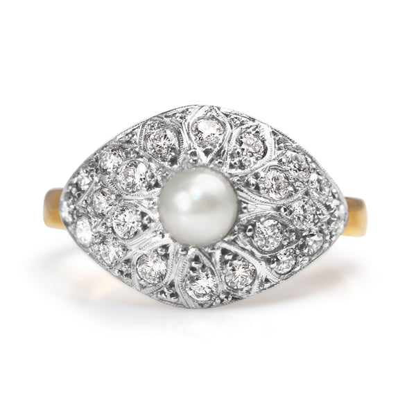 14ct Rose and White Gold Vintage Diamond and Pearl Ring
