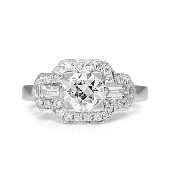 Platinum Art Deco Style Old Cut Diamond Ring