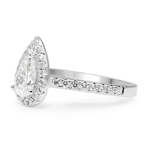 18ct White Gold Pear Diamond Halo Ring