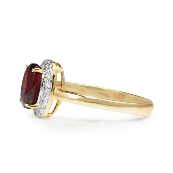 9ct Yellow and White Gold Garnet and Diamond Halo Ring