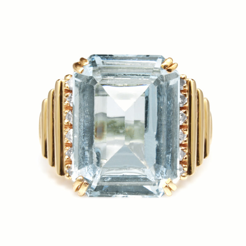 14ct Yellow Gold Vintage Spinel and Diamond Cocktail Ring