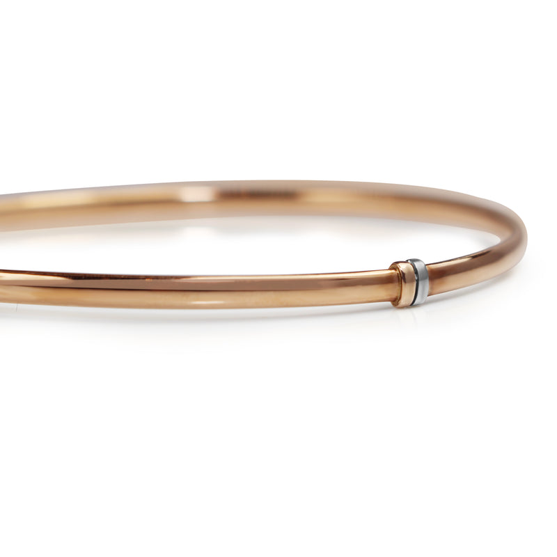 9ct Rose Gold and Silver Filled Round Bangle