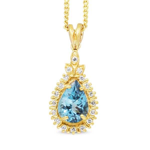 14ct Yellow Gold Topaz and Diamond Pendant