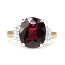 18ct Yellow and White Gold Garnet and Diamond Ring