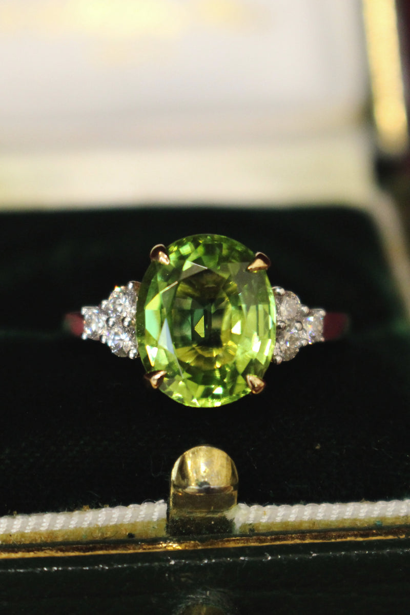 18ct Yellow and White Gold Peridot and Diamond Ring