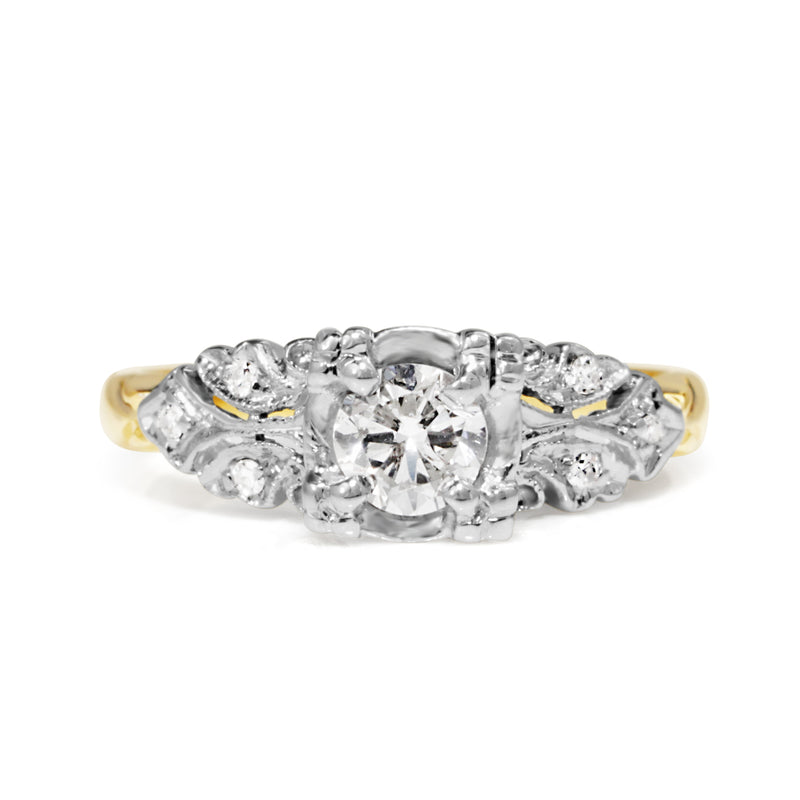 14ct Yellow and White Gold Vintage Diamond Ring