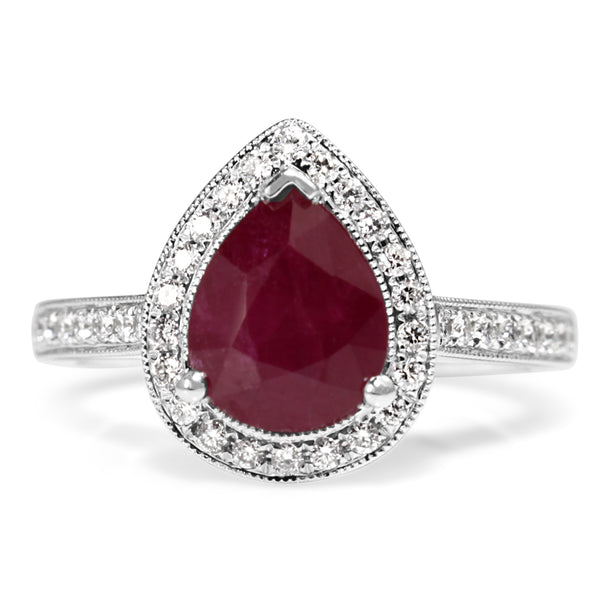 18ct White Gold Ruby and Diamond Pear Halo Ring
