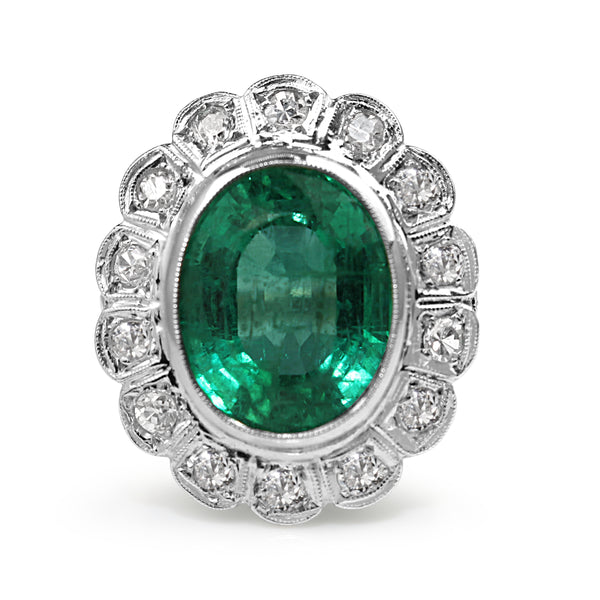 Platinum Art Deco Old Cut Diamond and Emerald Cluster Ring