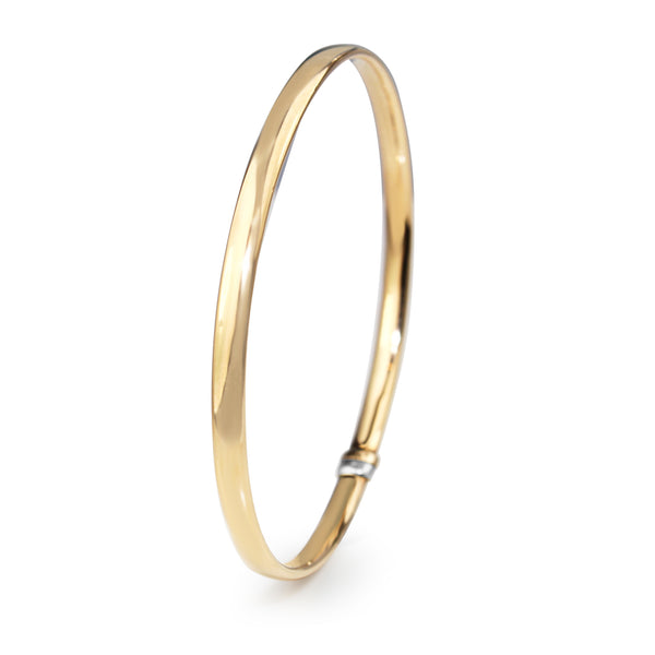 9ct Rose Gold and Silver Filled Oval Bangle