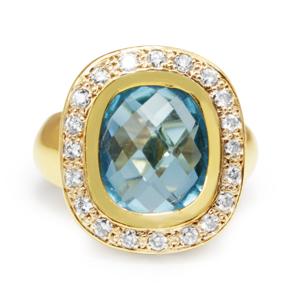 18ct Yellow Gold Vintage Topaz and Diamond Halo Ring