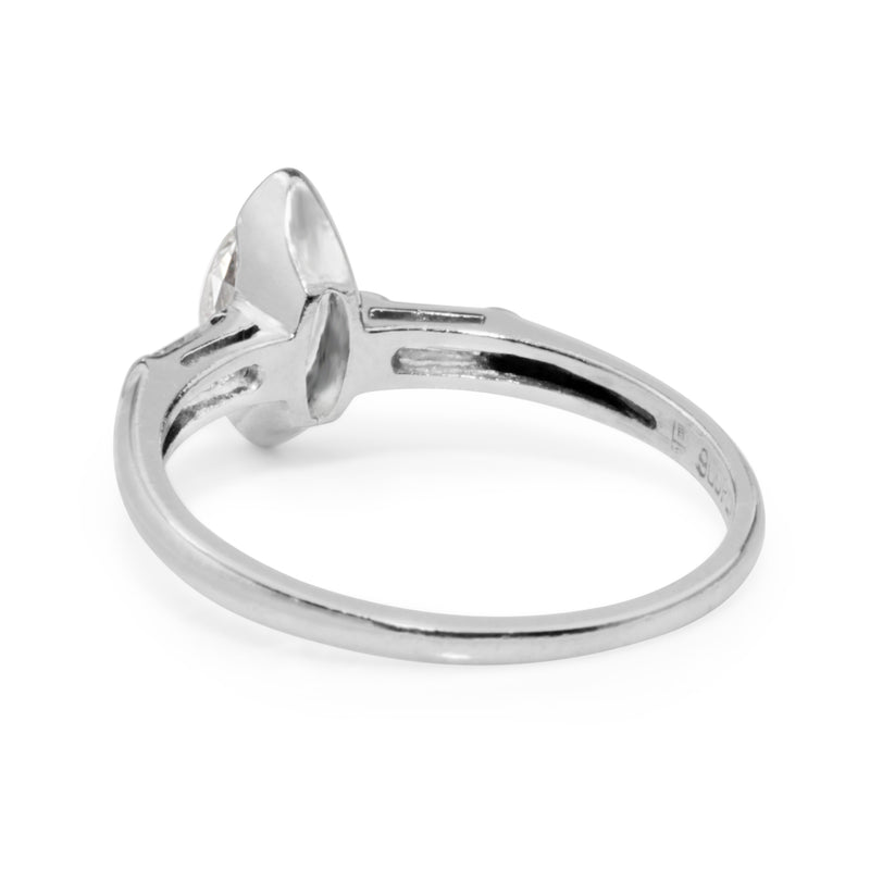 Platinum Old Cut Marquise Diamond Ring