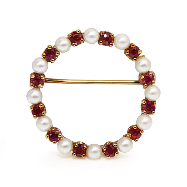 14ct Yellow Gold Ruby and Pearl Wreath Brooch
