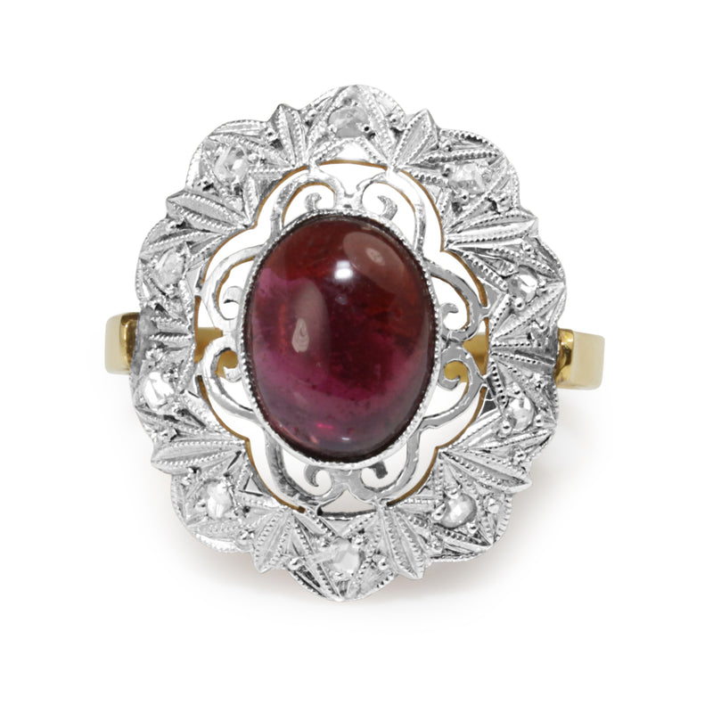 18ct Yellow and White Gold Art Deco Garnet and Rose Cut Diamond Ring