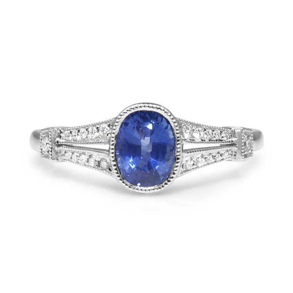 18ct White Gold Vintage Style Sapphire and Diamond Ring
