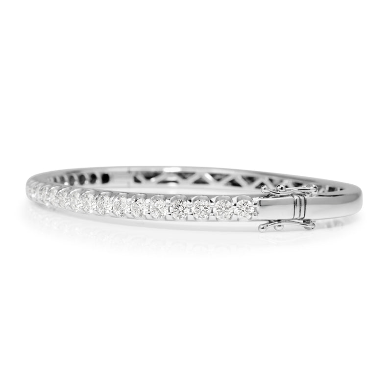 9ct White Gold Hinged 3.13ct Diamond Bangle