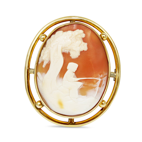 9ct Yellow Gold Large Vintage Cameo Brooch