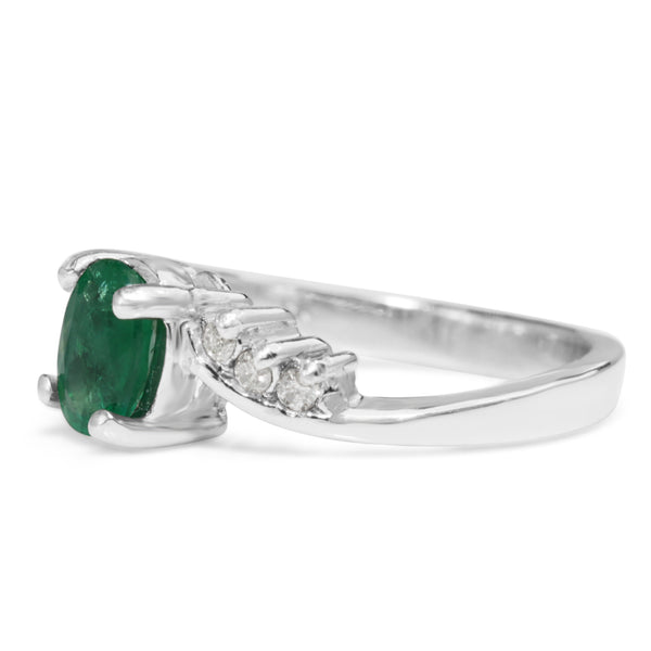 Platinum Vintage Emerald and Diamond Ring