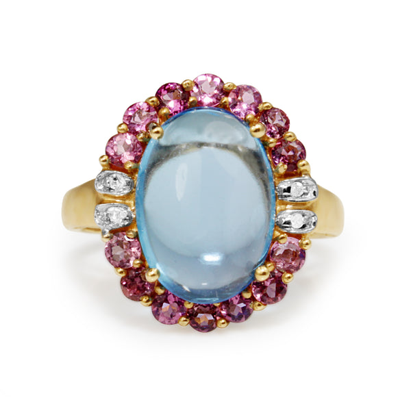 14ct Yellow Gold Vintage Cabochon Topaz, Amethyst and Diamond Ring