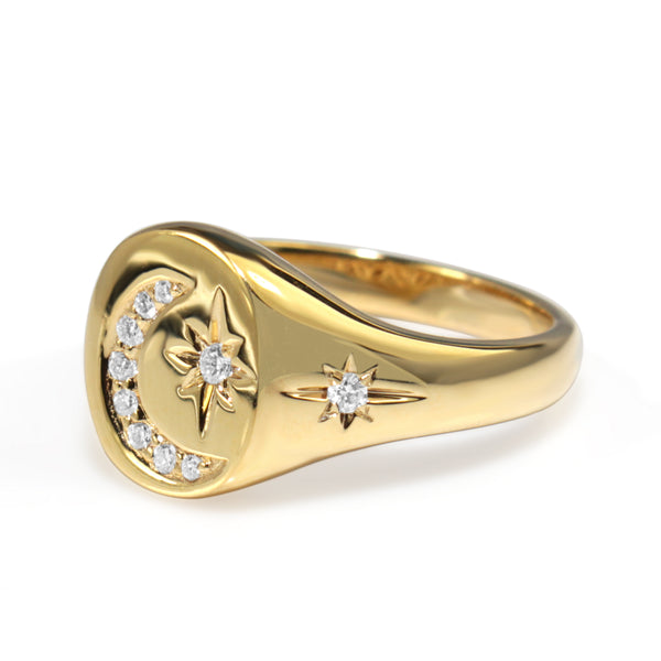 9ct Yellow Gold Diamond Moon and Stars Signet Ring