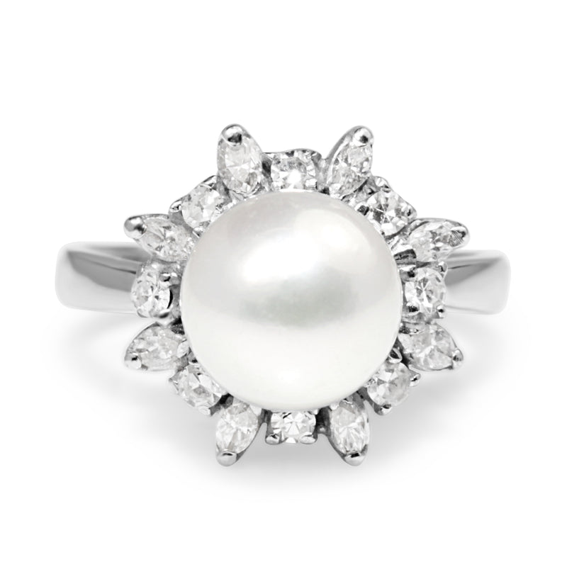 18ct White Gold Cultured Pearl and Diamond Ring