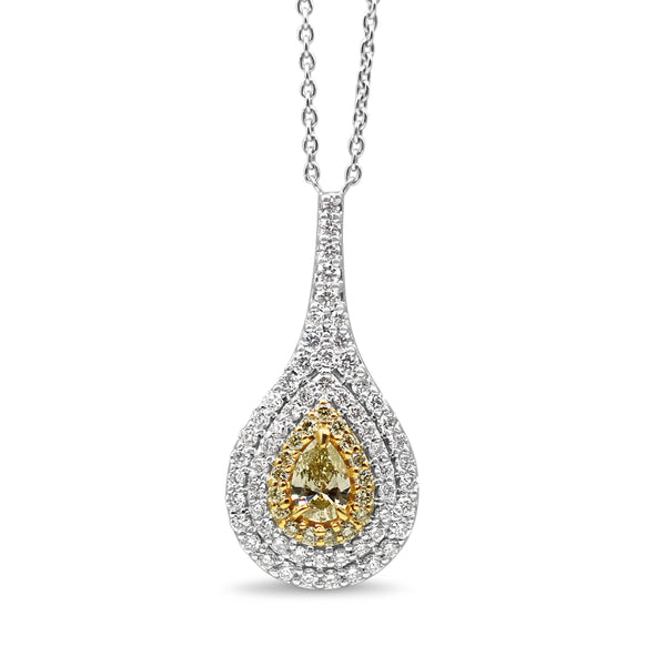 18ct White Gold Yellow and White Diamond Pear Shaped Necklace