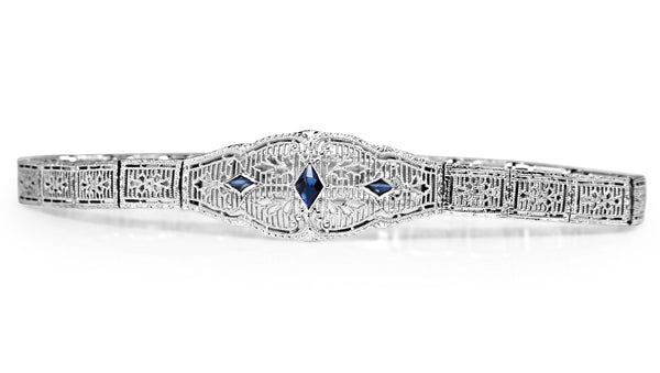 10ct White Gold Art Deco Synthetic Sapphire Filigree Bracelet