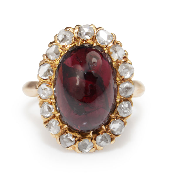 18ct Yellow Gold Antique Cabochon Garnet and Rose Cut Diamond Ring