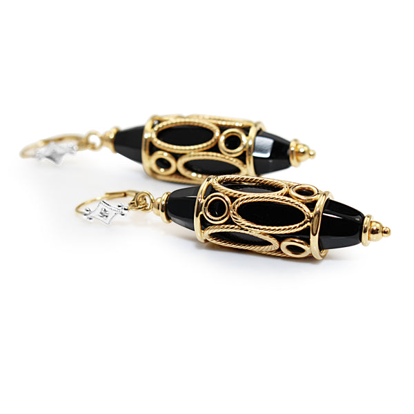 14ct Yellow Gold Vintage Onyx and Diamond Drop Earrings