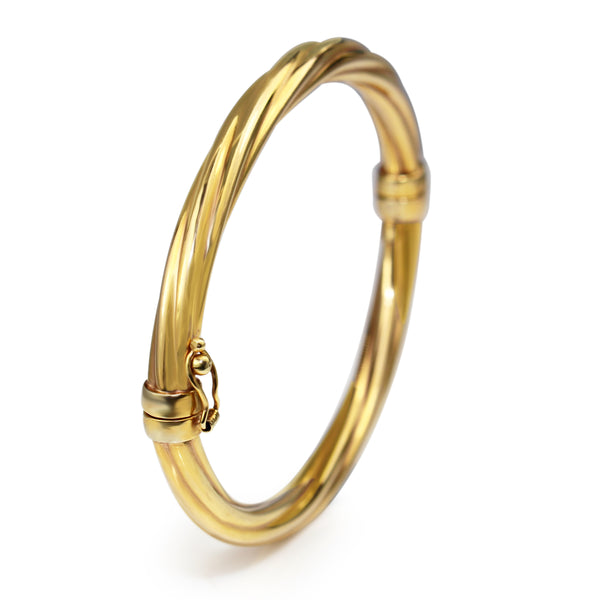 18ct Yellow Gold Twisted Oval Hinged Bangle