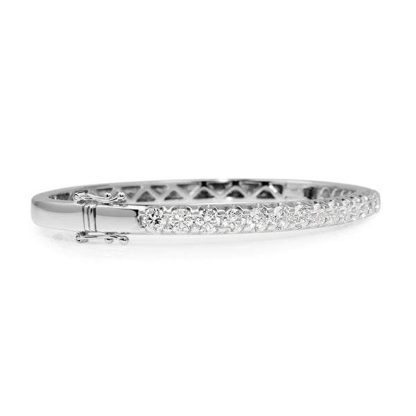 9ct White Gold Hinged 4.05ct Diamond Bangle