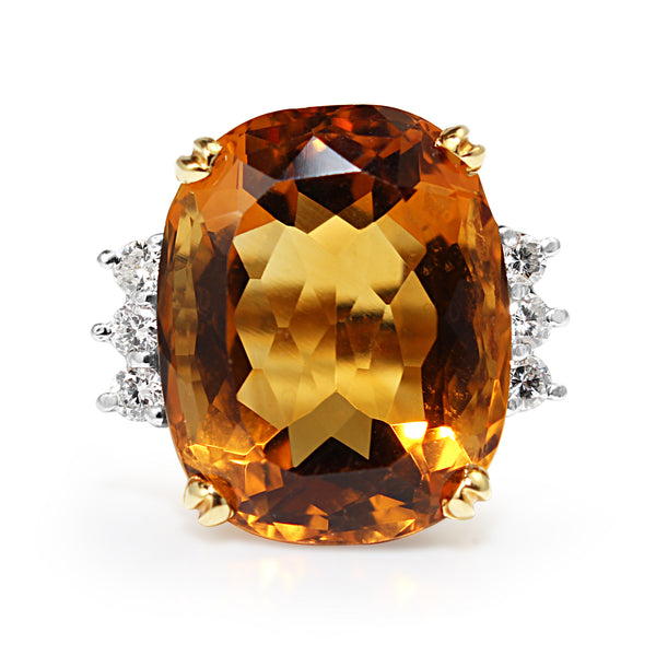 18ct Yellow Gold Citrine and Diamond Cocktail Ring