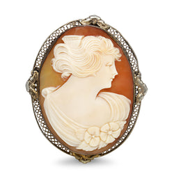 Silver Antique Cameo Brooch / Pendant
