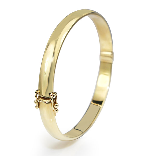 9ct Yellow Gold Solid Oval Hinged Bangle