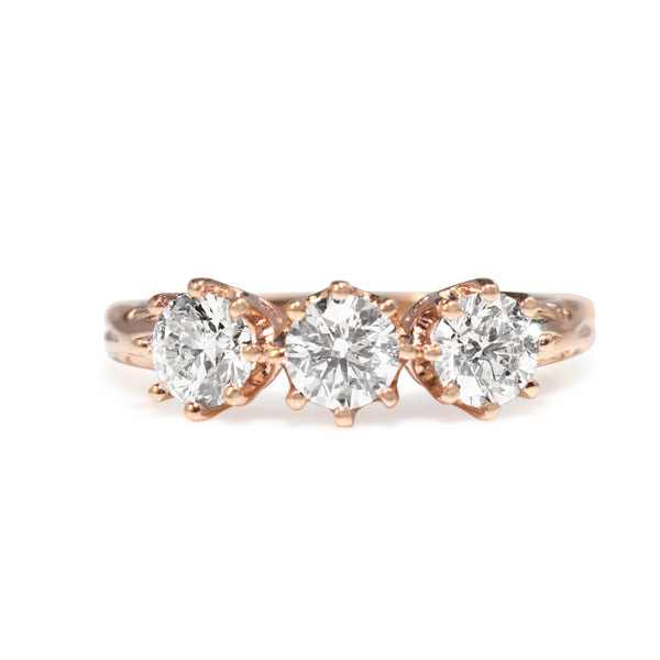 18ct Rose Gold Antique Style 3 Stone Diamond Ring