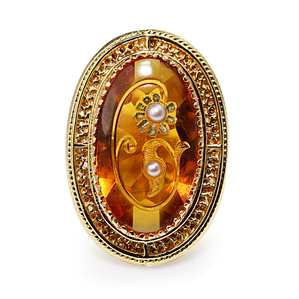 14ct Yellow Gold Amber and Pearl Large Cocktail Ring