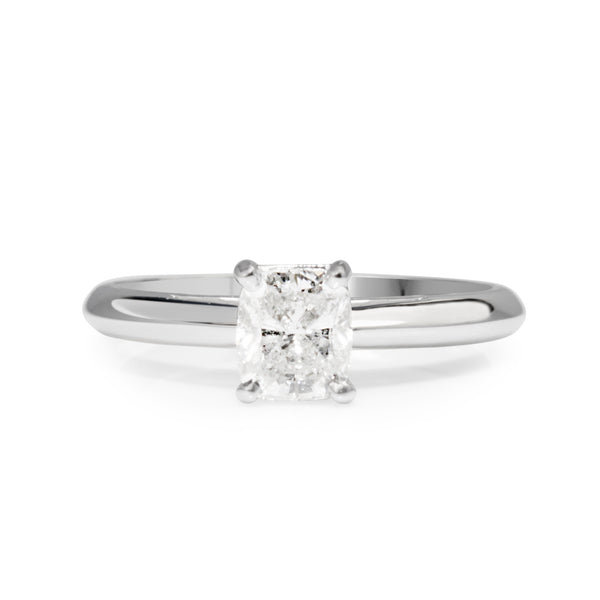 18ct White Gold Cushion Diamond Solitaire Ring
