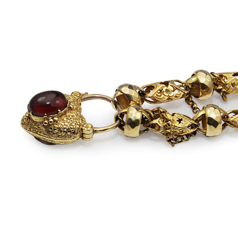 9ct Yellow Gold Antique Victorian Fancy Link Bracelet with Garnet