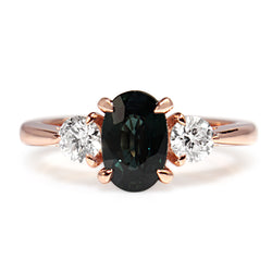 18ct Rose Gold Green / Blue Sapphire and Diamond 3 Stone Ring