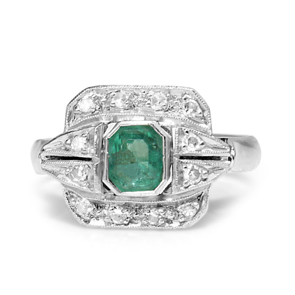 Palladium Art Deco Emerald and Single Cut Diamond Ring