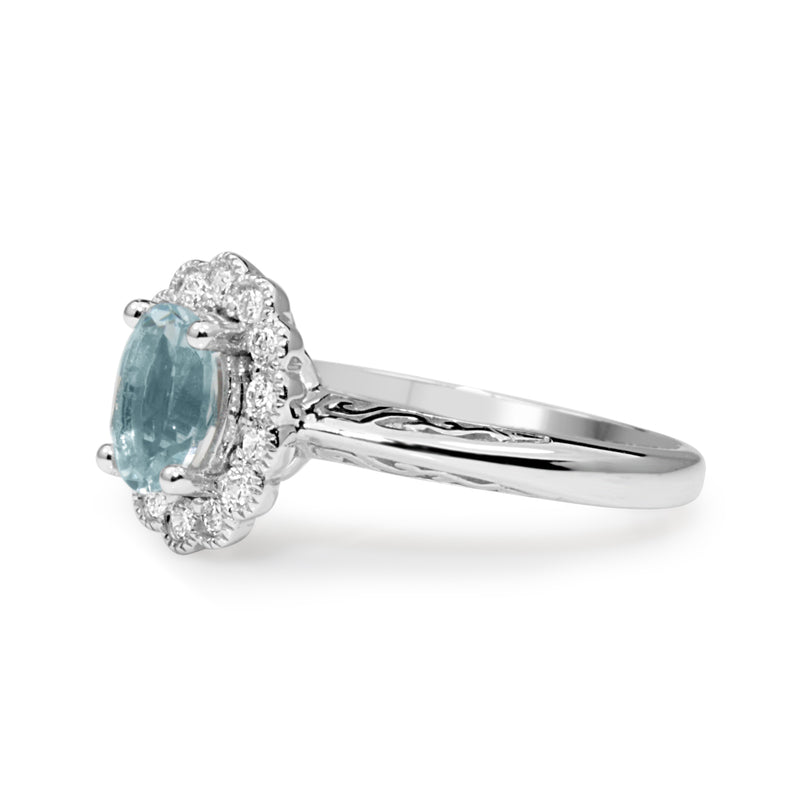 9ct White Gold Aquamarine and Diamond Daisy Ring