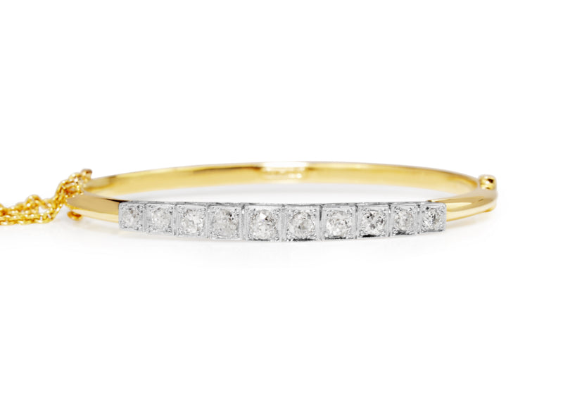 18ct Yellow and White Gold Antique Old Cut Diamond Bangle
