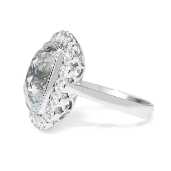 18ct White Gold Vintage Style Aquamarine and Diamond Halo Ring