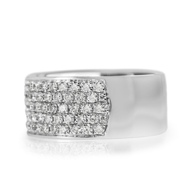 18ct White Gold Wide Pavé Diamond Band Ring