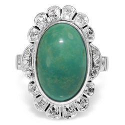 Palladium Turquoise and Diamond Deco Ring