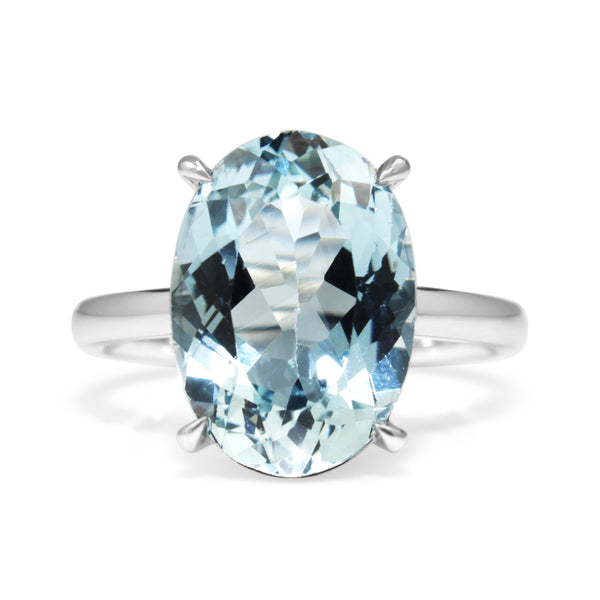 18ct White Gold Aquamarine Solitaire Ring