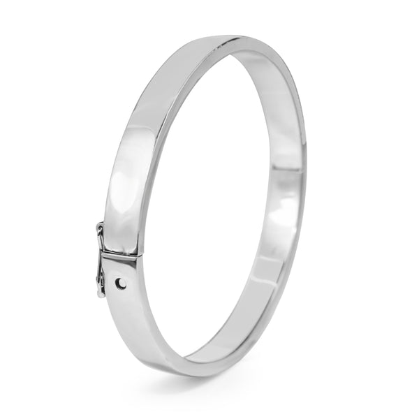 9ct White Gold Solid Oval Hinged Bangle