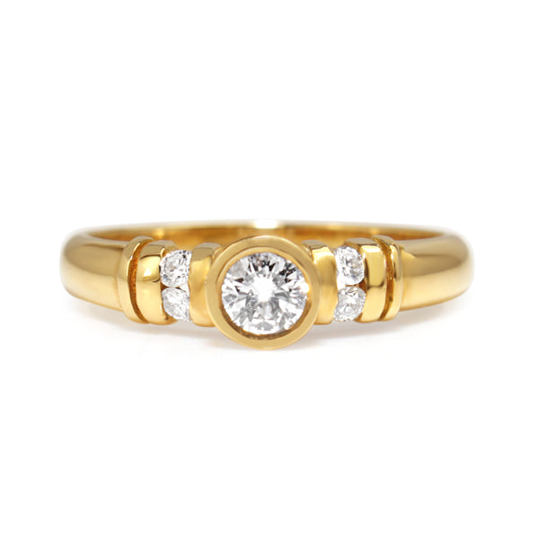 18ct Yellow Gold Bezel and Channel Set Diamond Ring